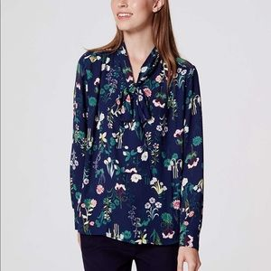 Loft Valley Floral Bow Blouse, Small